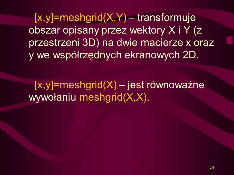 [x,y]=meshgrid(X,Y) – transformuje obszar opisany przez wektory X i Y (z przestrzeni 3D) na dwie macierze x oraz y we współrzędnych ekranowych 2D.